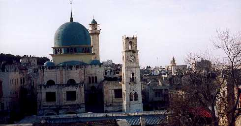 Rooftop view of Bab Al-Saha square, the memorial clock tower in memory of Sultan Abdul Hamid and the Al-Nasir Mosque in the old city Nablus.